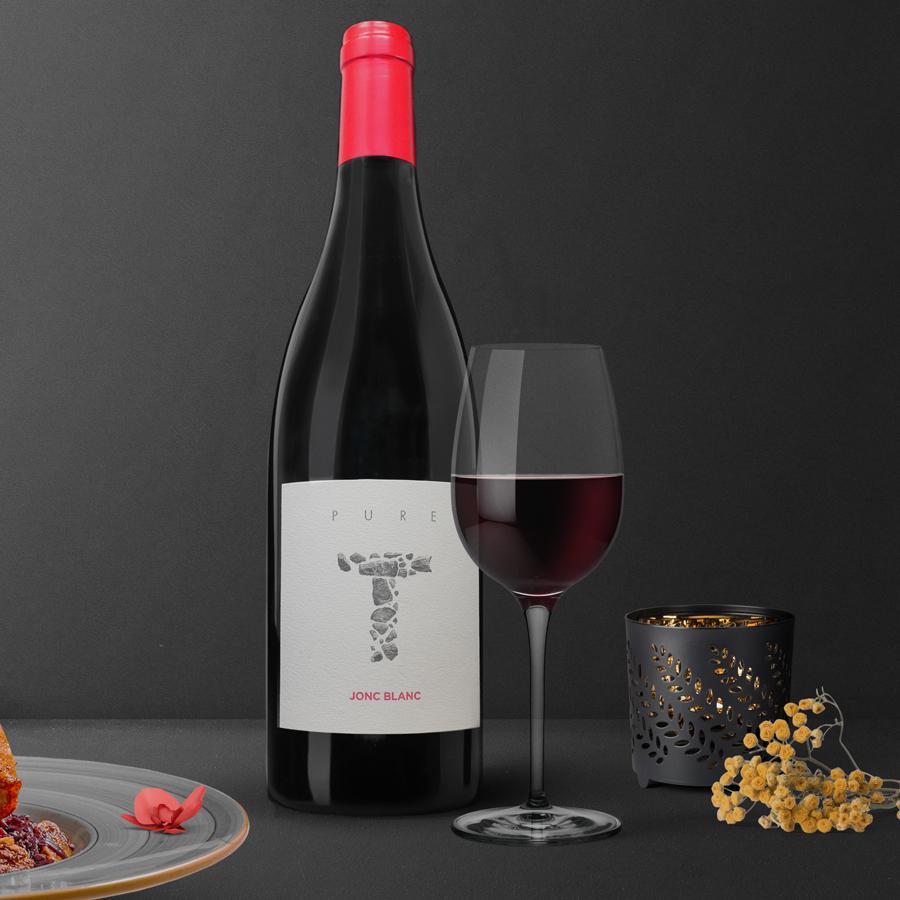 Jonc Blanc - Gamme Pure T - Rouge - Biodynamie - Haut de gamme, mets : confits de canard, truffe, champignons, cèpes, chataîgnes, gibier