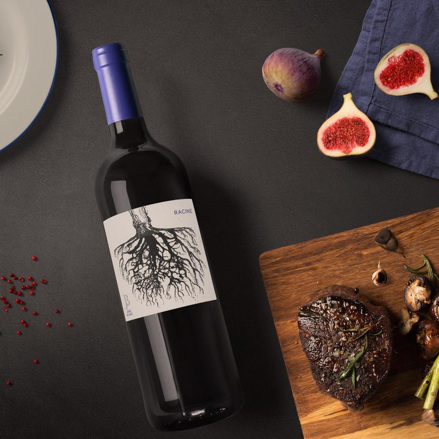 RACINE, Vin rouge (merlot cabernet malbec) de Jonc Blanc. sans sulfite ajouté