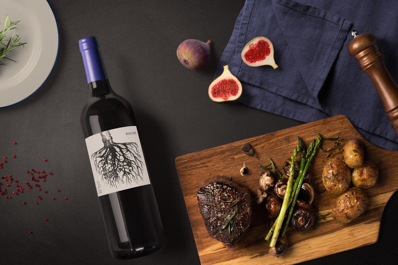 RACINE, Vin rouge (merlot cabernet malbec) de Jonc Blanc. Démeter et AB BIO certifié