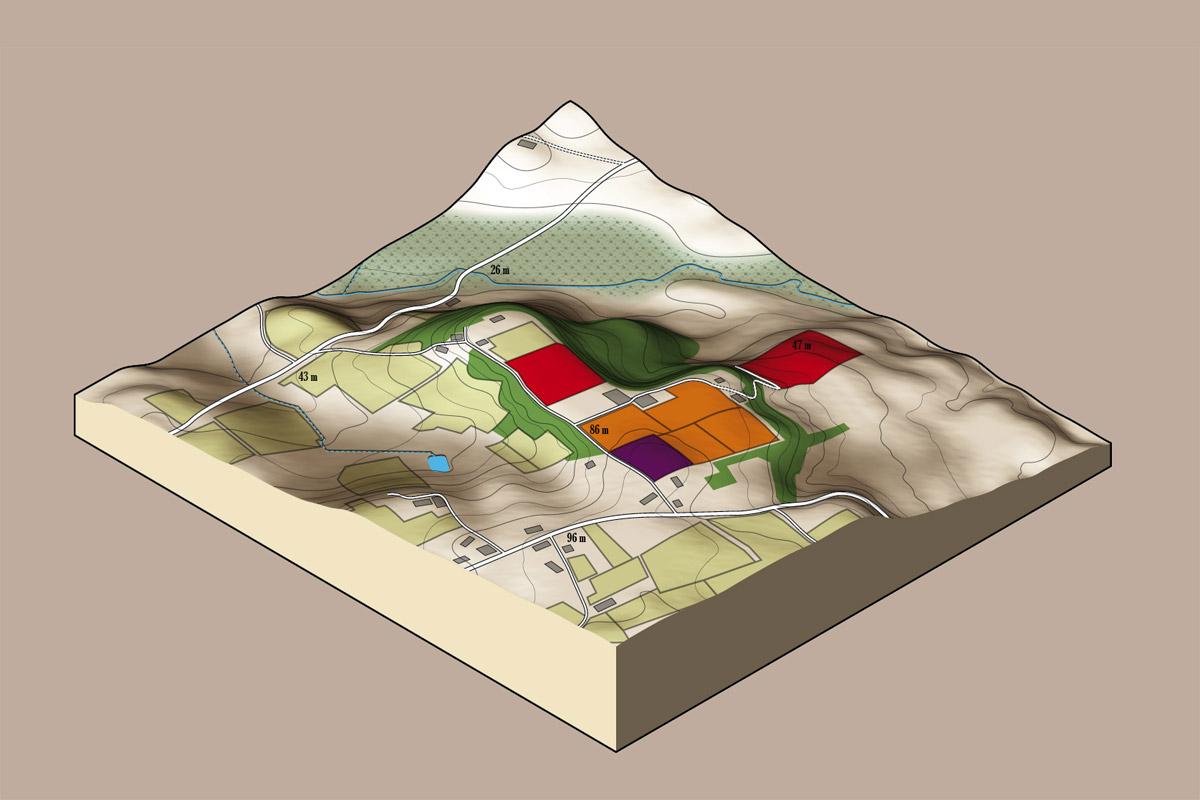 3D, cartographie terroir du Jonc Blanc