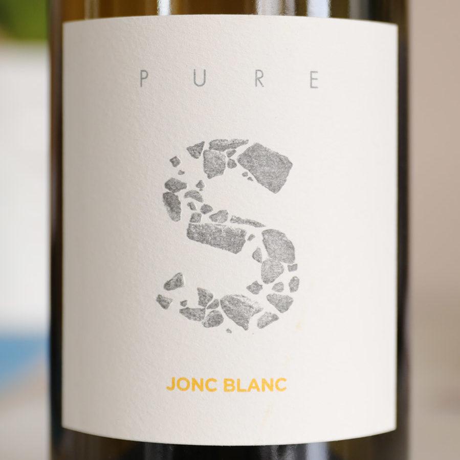 Jonc Blanc - PURE S, Vin Blanc vivant biodynamique, étiquette