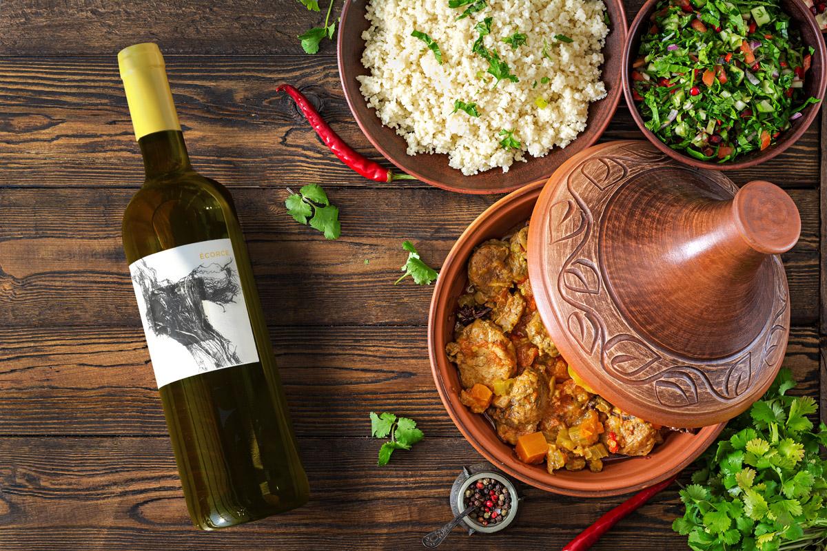 ECORCE chez vignoble JONC BLANC, vin blanc BIO, ambiance, tajine, orientale, riz, salade, frais, épicé, viande blanche